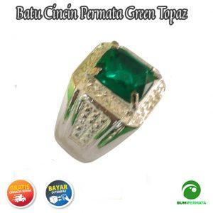 Cincin Batu Permata Green Topaz Catam