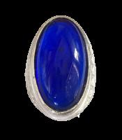 Batu Cincin Akik Obsidian Biru Lonjong Luster Joss