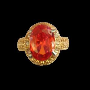 Cincin Wanita Orange Diamond Oval Cutting