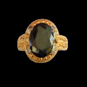 Cincin Wanita Black Diamond Oval Cutting