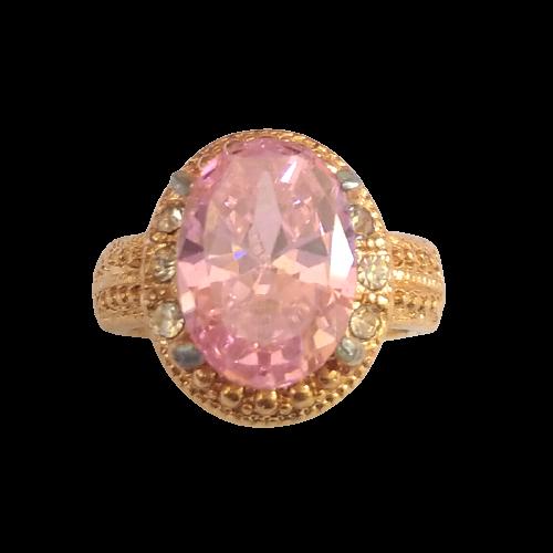 Cincin Wanita Pink Rose Diamond Oval Cutting