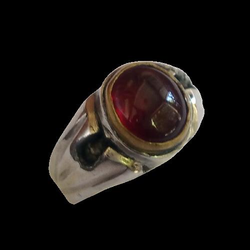 Cincin Batu Akik Merah Siam Kecil Ikat Monel Stainless Steel