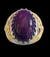 Cincin Batu Akik Giok Ungu Purple Jade Ring Rhodium