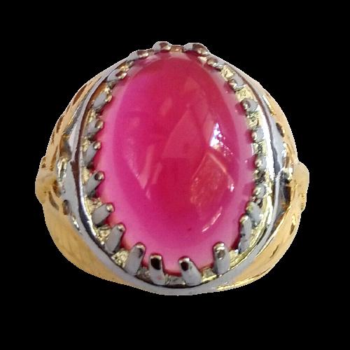 Cincin Batu Akik Rose Diamond Pink Oval Cabochon