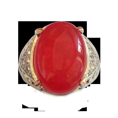 Cincin Pria Batu Akik Giok Merah Keren Elegan Natural