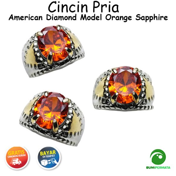 Batu Cincin Akik American Diamond Model Orange Sapphire
