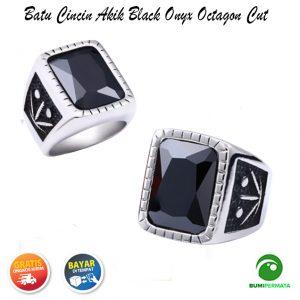 Batu Cincin Akik Black Onyx Octagon Cut Ring Silver Titanium Super 1