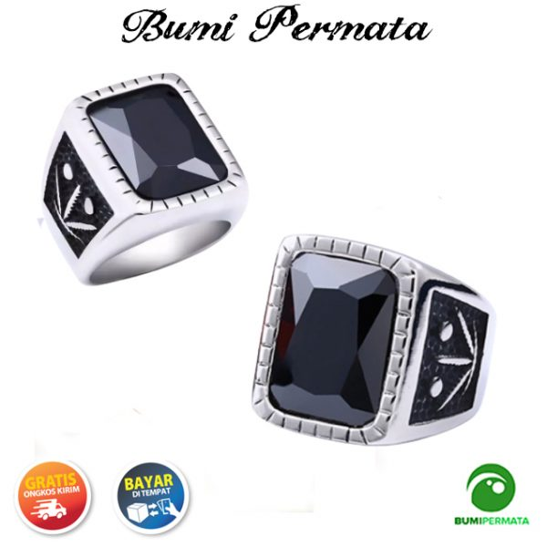 Batu Cincin Akik Black Onyx Octagon Cut Ring Silver Titanium Super 2