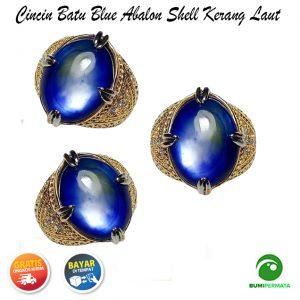 Batu Cincin Akik Blue Abalon Shell Kerang Laut 1