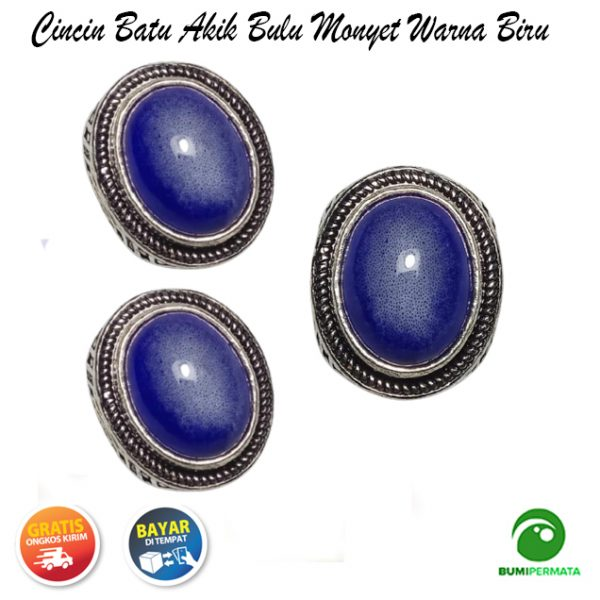 Batu Cincin Akik Bulu Monyet Warna Biru 1