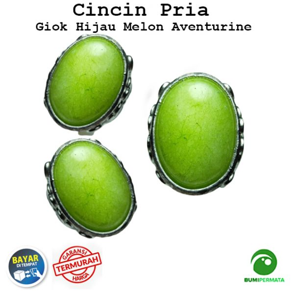 Batu Cincin Akik Giok Hijau Melon Aventurine