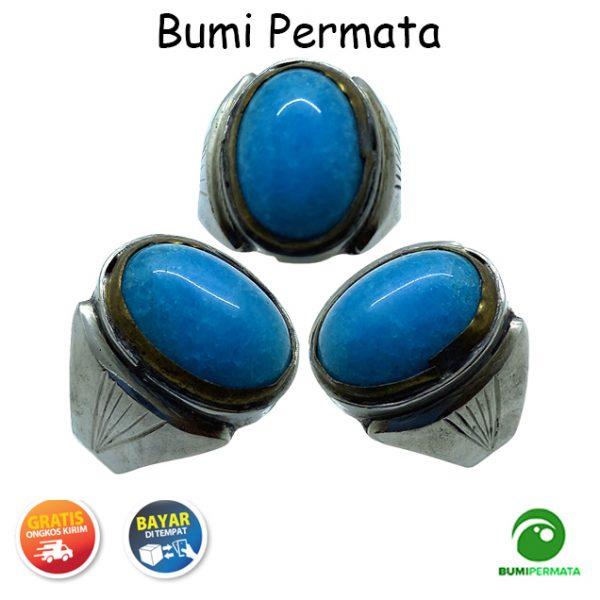 Batu Cincin Akik Jade Giok Biru Ring Monel 1