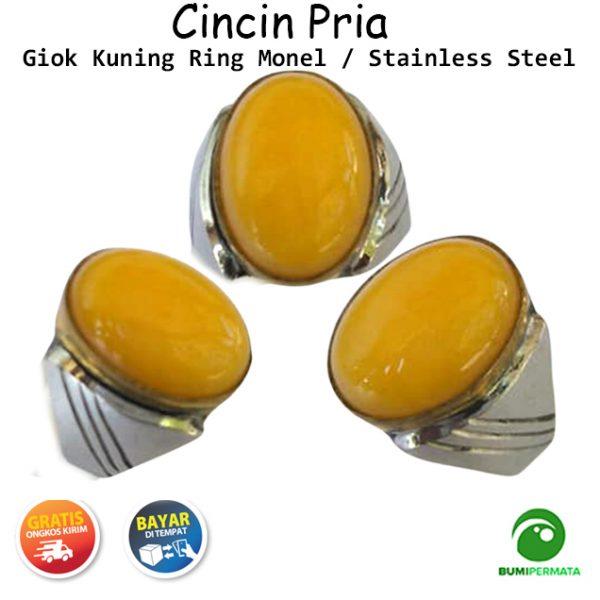 Batu Cincin Akik Jade Giok Kuning Ring Monel