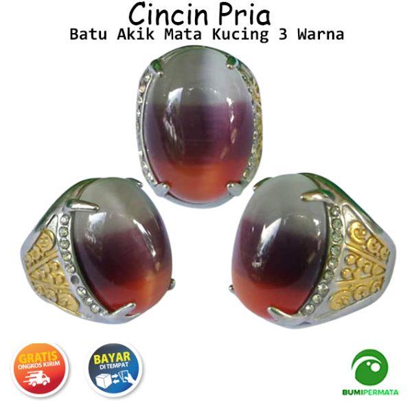 Batu Cincin Akik Mata Kucing 3 Warna Model B