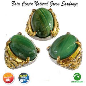 Batu Cincin Akik Natural Green Sardonyx
