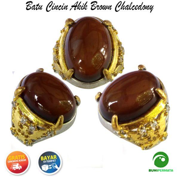 Batu Cincin Akik Permata Mulia Natural Brown Chalcedony