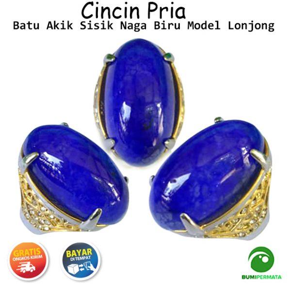 Batu Cincin Akik Sisik Naga Biru Lonjong