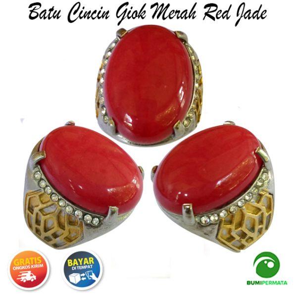 Batu Cincin Mulia Giok Merah Red Jade Medium Size
