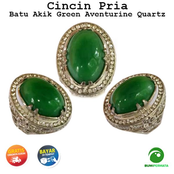 Batu Cincin Permata Green Aventurine Natural Quartz