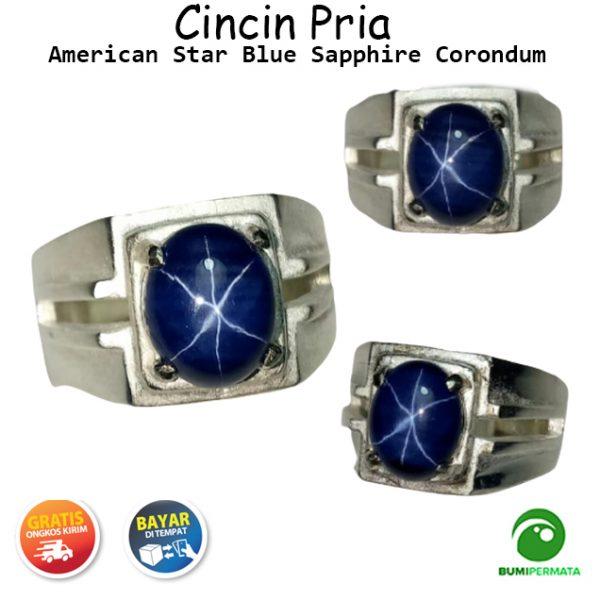 Cincin Batu Akik Permata Blue Sapphire American Star 6 Luster Mewah Berkelas