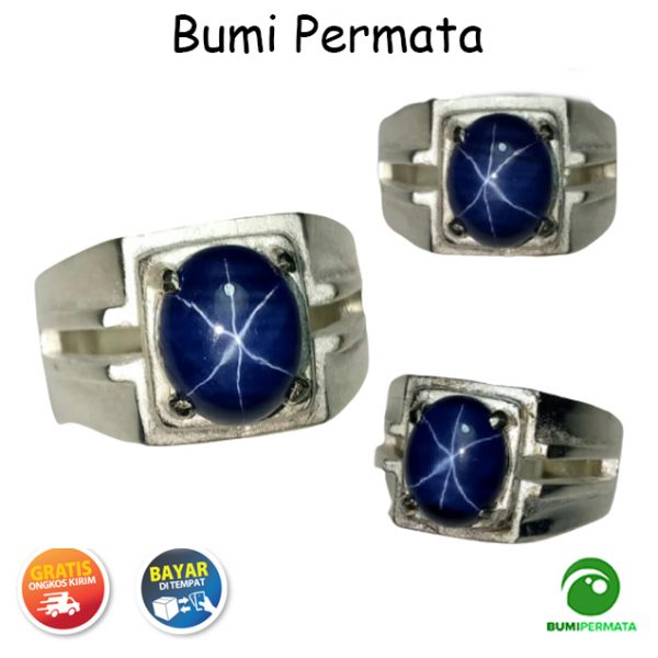 Cincin Batu Akik Permata Blue Sapphire American Star 6 Luster Mewah Berkelas 1