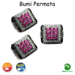 Cincin Batu Akik Pria Wanita Pink Rose Siam Tabur Mata 9 1