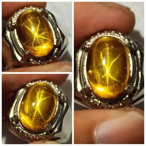 Cincin Batu Akik Yellow American Star