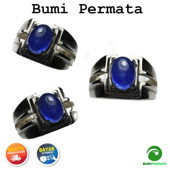 Cincin Batu Permata Natural Blue Sapphire Corondum 1