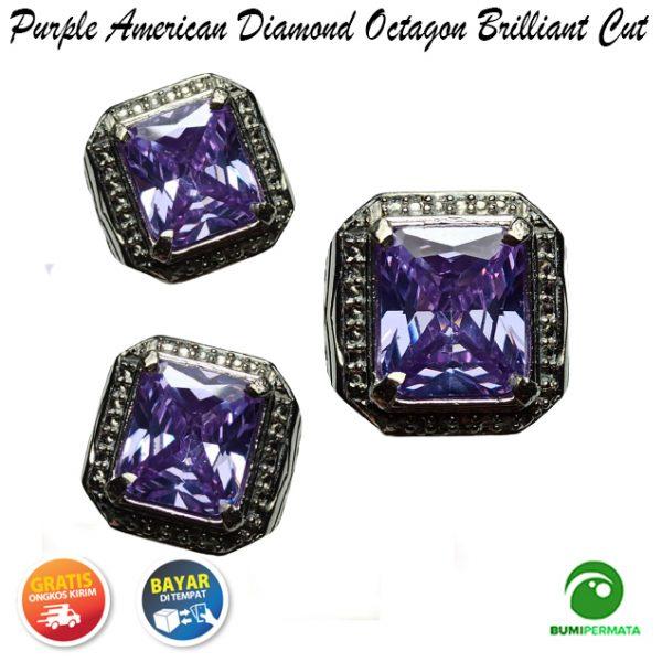 Cincin Purple American Diamond Octagon Briliiant Cut