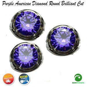 Cincin Purple American Diamond Round Briliiant Cut 1