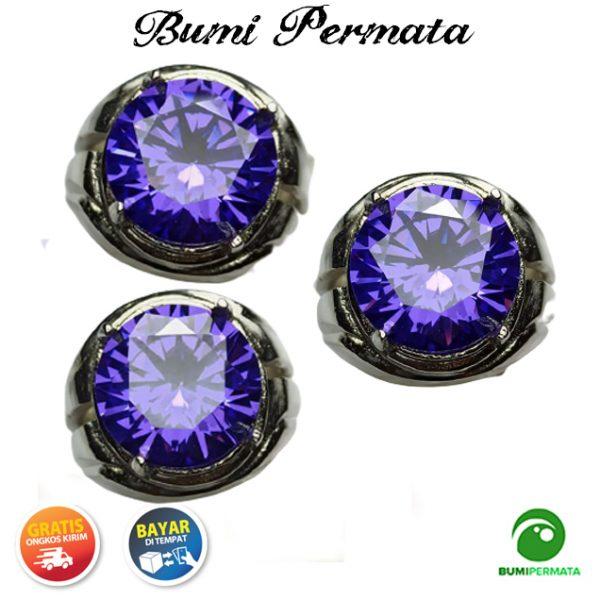 Cincin Purple American Diamond Round Briliiant Cut 2