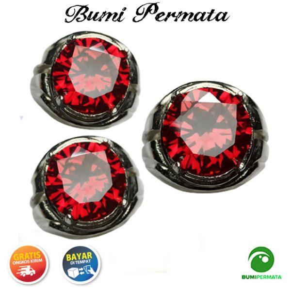 Cincin Red American Diamond Round Briliiant Cut 2