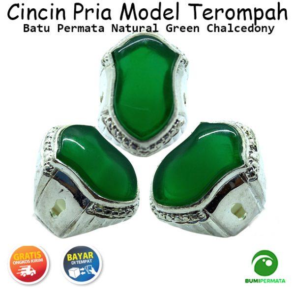 Cincin Terompah Batu Mulia Natural Green Chalcedony