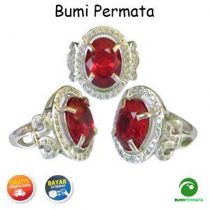 Cincin Wanita Batu Permata Merah Siam Ruby Oval Cutting 1