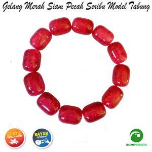 Gelang Batu Akik Merah Siam Pecah Seribu Model Tabung 1