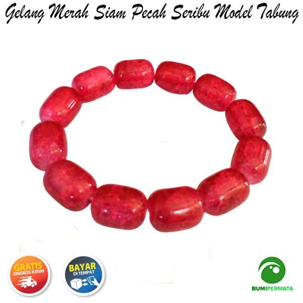 Gelang Batu Akik Merah Siam Pecah Seribu Model Tabung 2
