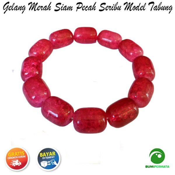 Gelang Batu Akik Merah Siam Pecah Seribu Model Tabung 3