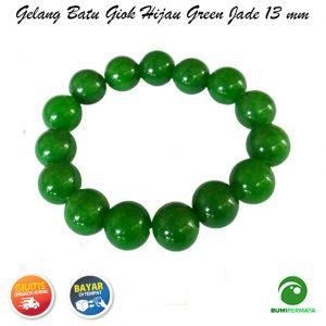 Gelang Giok Warna Hijau Green Jade 13 Mm 2