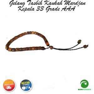 Gelang Tasbih Kaukah Mardjan Kepala 33 Grade AAA – Coklat 1