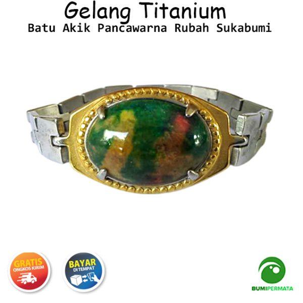Gelang Titanium Batu Akik Pancawarna Rubah Sukabumi