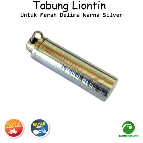 Liontin Tabung Untuk Merah Delima Warna Silver 2