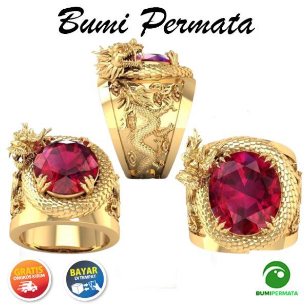 Naga 3D Baja Titanium Emas Kristal Rubi Berlian Perhiasan Fashion Pria Patung Hewan Cincin Punk Gold Rings 1