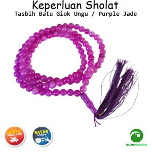 Tasbih Batu Akik Giok Ungu Purple Jade 99 Butir 1