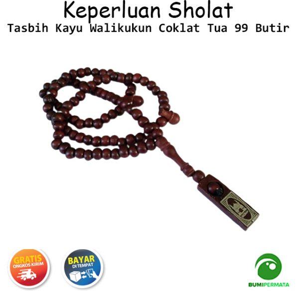 Tasbih Kayu Asli Walikukun 99 Butir Souvenir Haji Warna Coklat