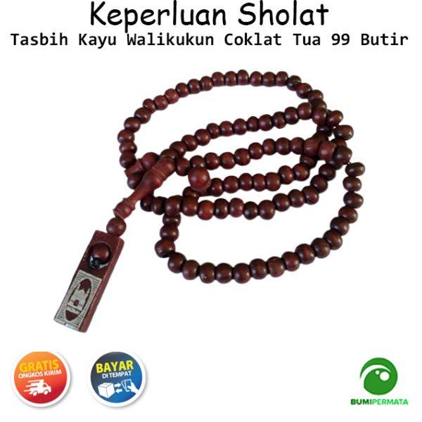 Tasbih Kayu Asli Walikukun 99 Butir Souvenir Haji Warna Coklat 1