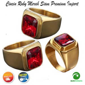 Cincin Batu Ruby Merah Siam Ring Baja Titanium Dipoles Gaya Sederhana 2
