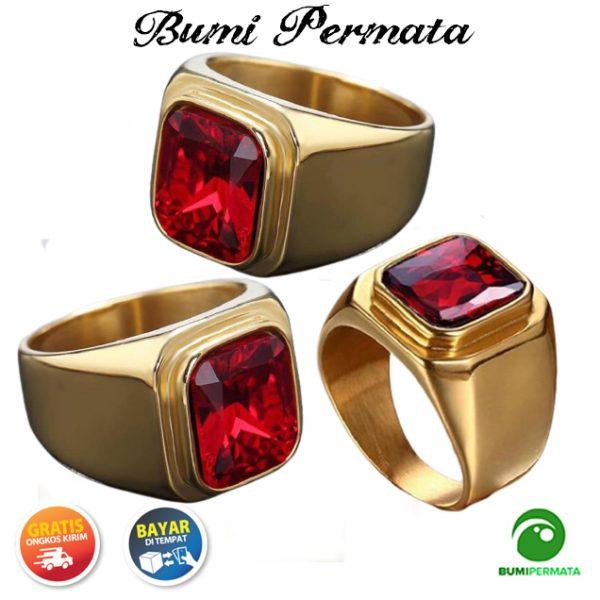 Cincin Batu Ruby Merah Siam Ring Baja Titanium Dipoles Gaya Sederhana