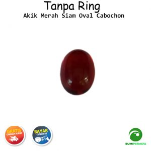 Batu Akik Merah Siam Oval Cabochon 2