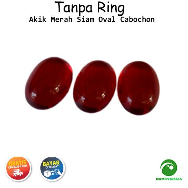 Batu Akik Merah Siam Oval Cabochon
