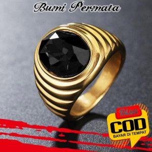 Batu Cincin Akik Black Onyx Oval Cut Gold Titanium Tanam2